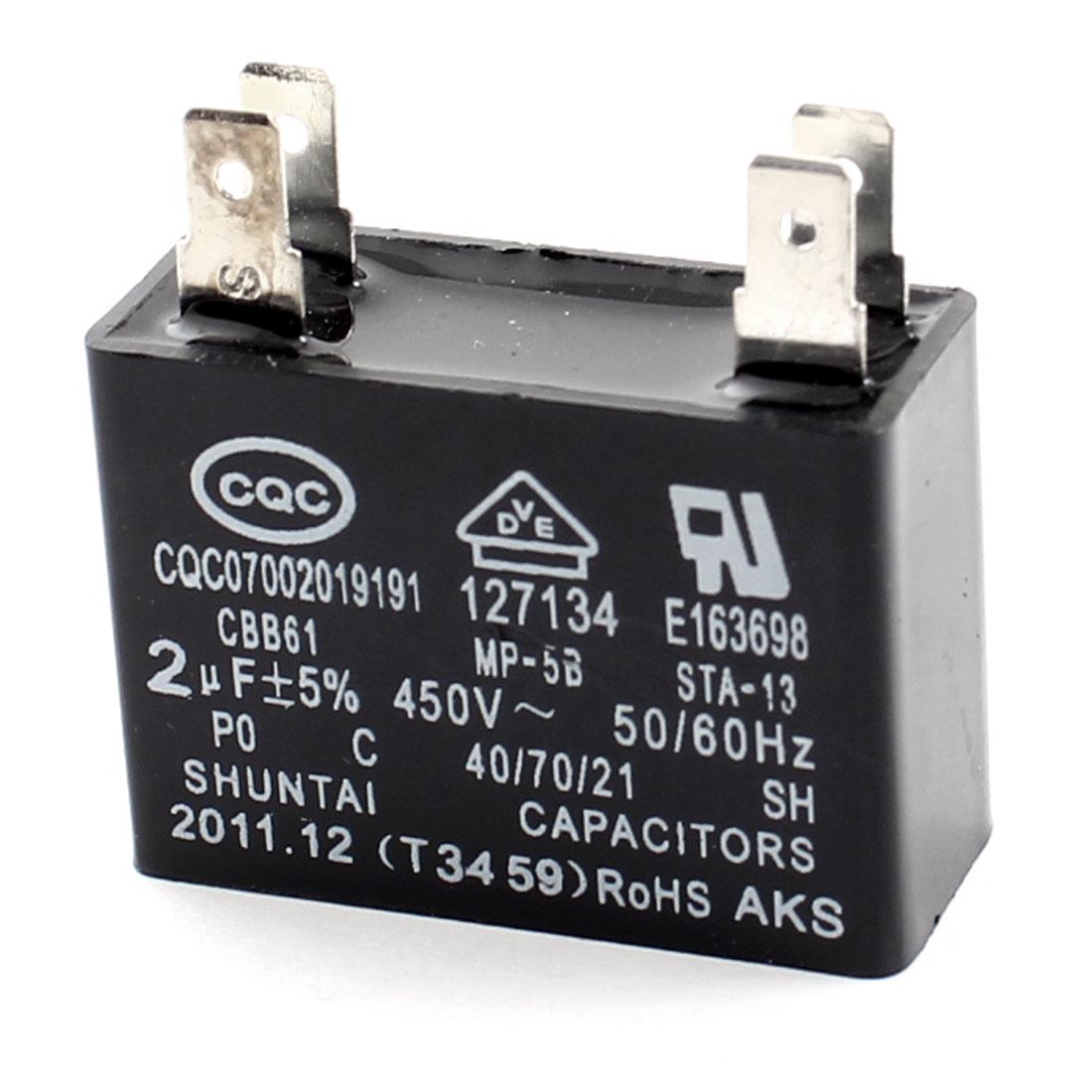 CBB61 AC450V 2uF 5% Tolerance Polypropylene Film Air Conditioner Fan Motor Running Capacitor Black