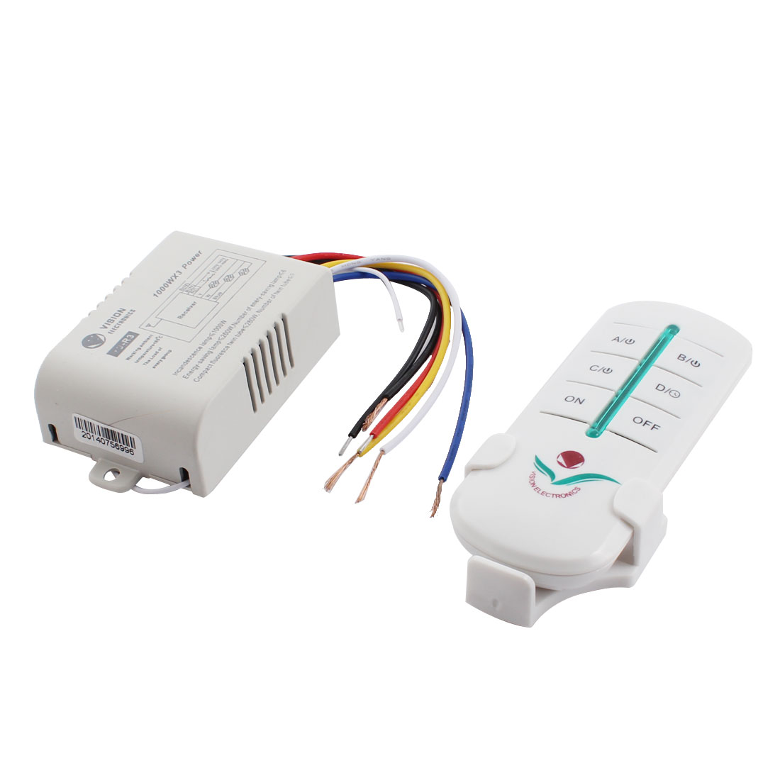 AC200-240V 6CH On/Off Light Control Wired White Plastic Housing Wireless Remote Wall Switch w Bracket