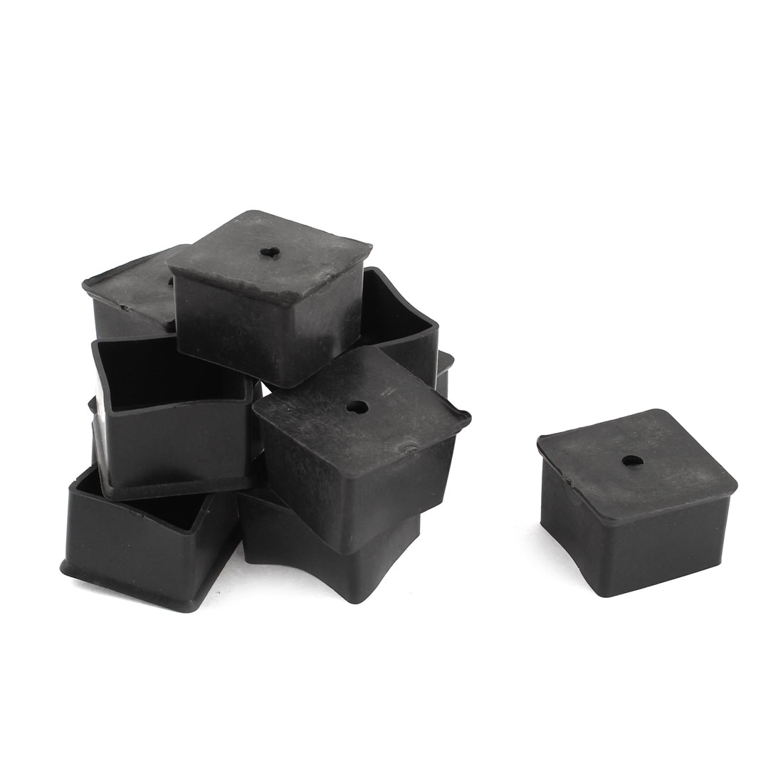 10 Pcs Rubber Furniture Desk Foot Protect Pads Cover Black 45x45x30mm