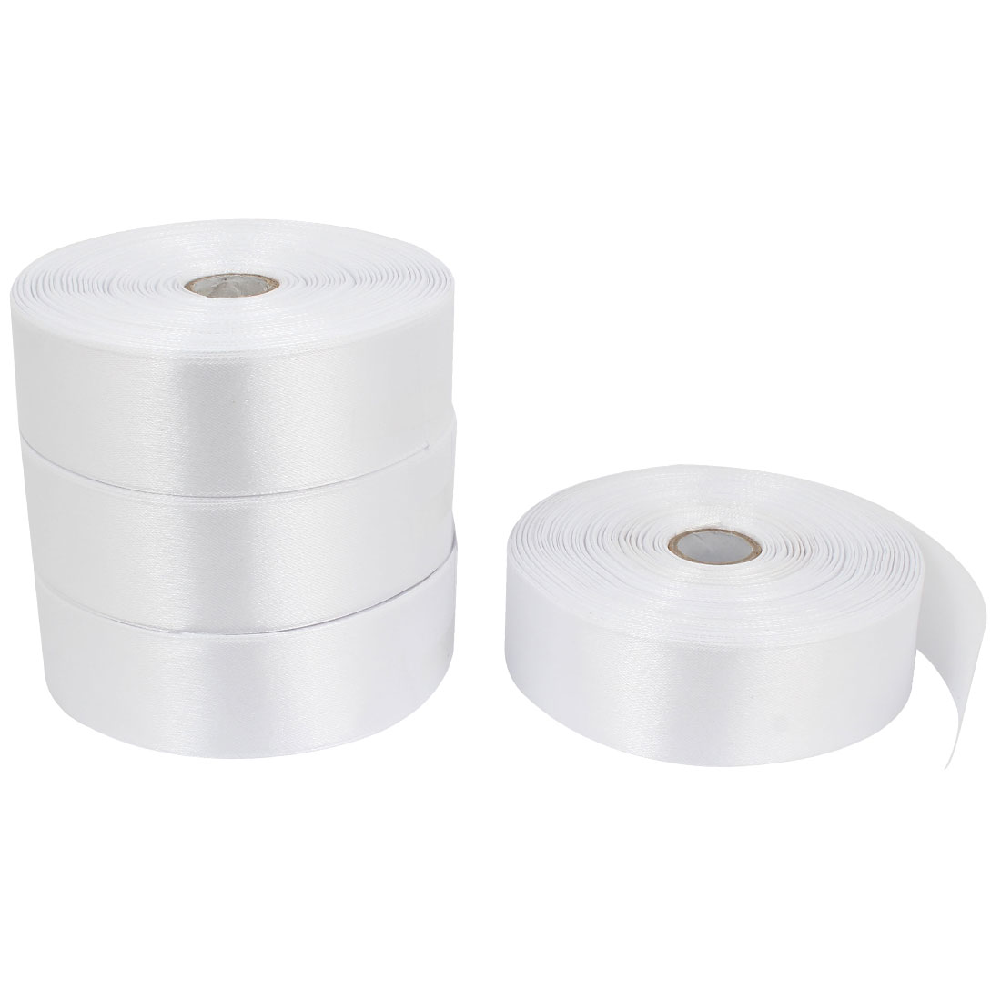 4 Pcs 3.2cm Width Weding Party DIY Packing Polyester Ribbon Roll White 200 Yard