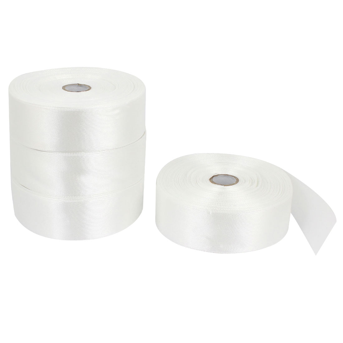 4 Pcs 3.2cm Width DIY Packing Polyester Ribbon Roll Tape Off White 200 Yard