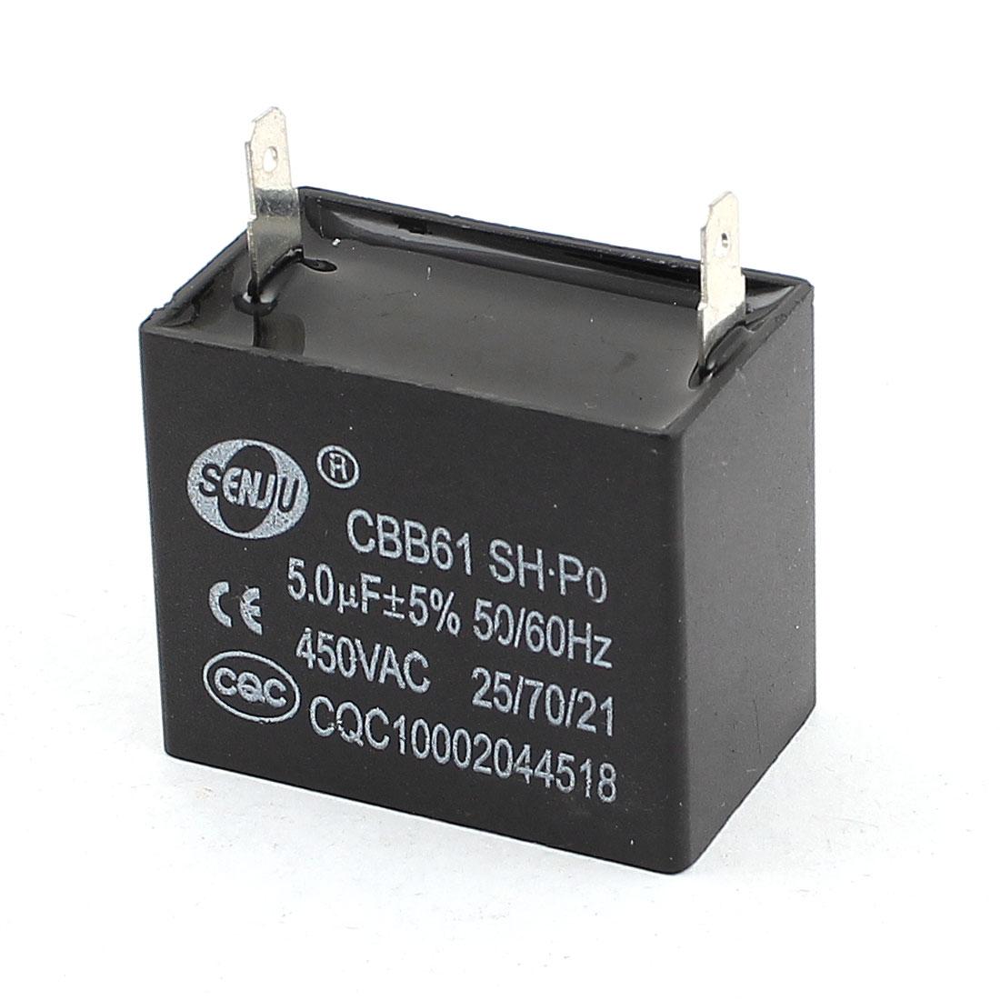CBB61 AC 450V 5uF 5% Tolerance Fan Motor Running Capacitor