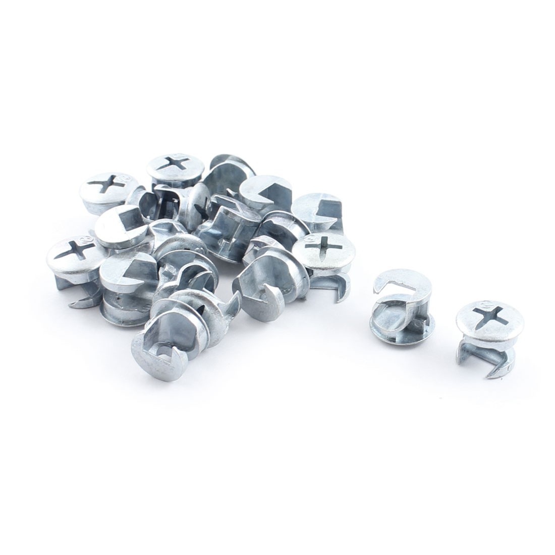20 Pcs Furniture Cabinet Glass Silver Tone Connecting Cam Fitting