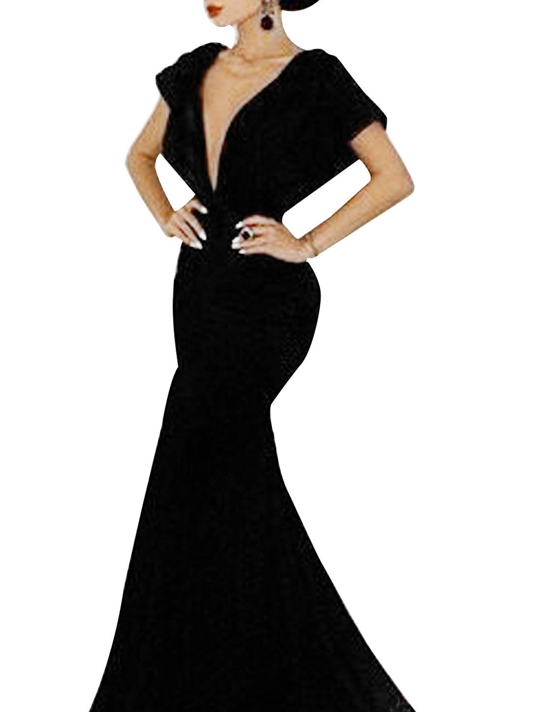 Lady Deep V Neck Batwing Sleeve Open Back Full-Length Mermaid Dress Black S