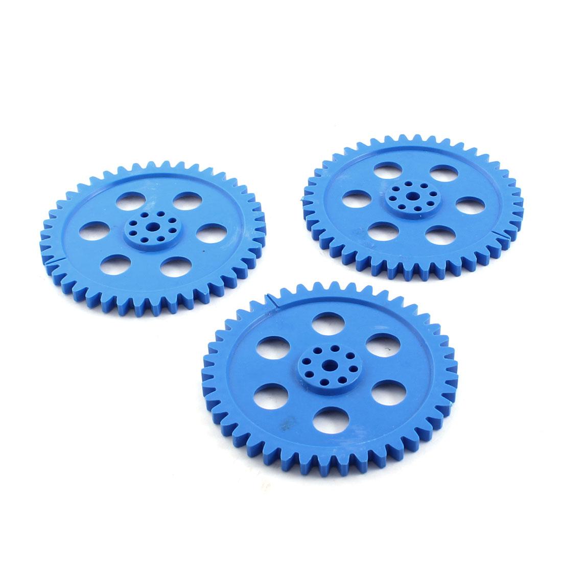 Electric Model Motor Blue Plastic 42 Teeth Gear Wheel 80mmx5mm 3 Pcs