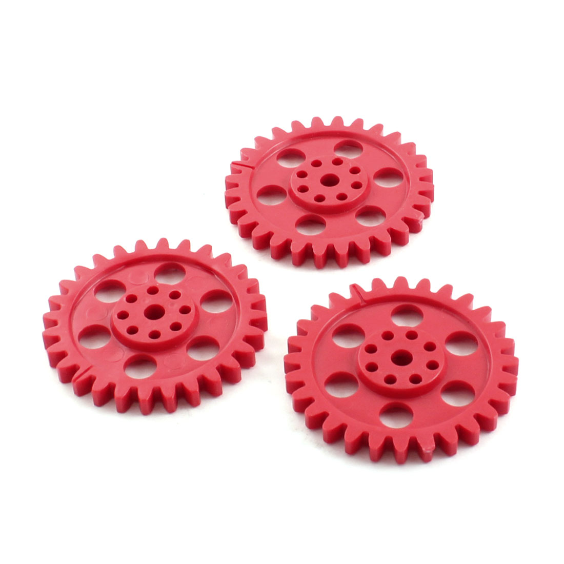Electric Model Motor Red Plastic 28 Teeth Gear Wheel 54mmx6.5mm 3 Pcs