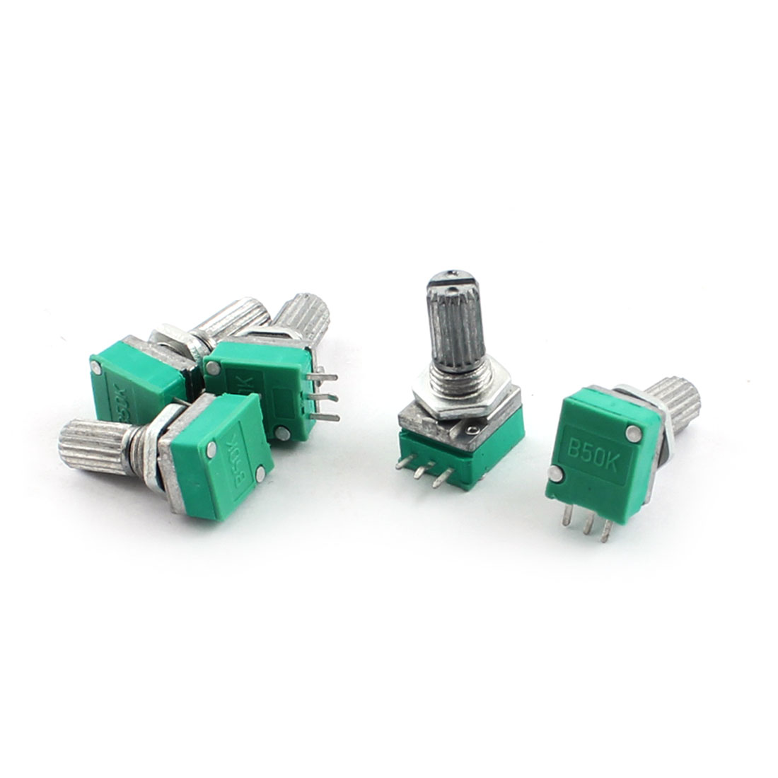 5 Pcs B50K Type B 50K Ohm 3Pin Terminal Single Linear Rotary Taper Potentiometer