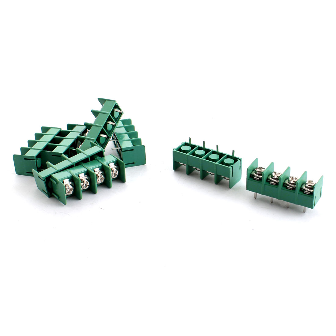 8 Pcs Green 4pin 7.62mm Pitch 4 Positions 300V 30A Barrier Terminal Block Strip