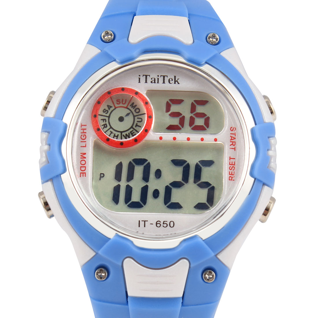 Blue White 4 Buttons Adjustable Wristband Digital Display Sports Watch w Case