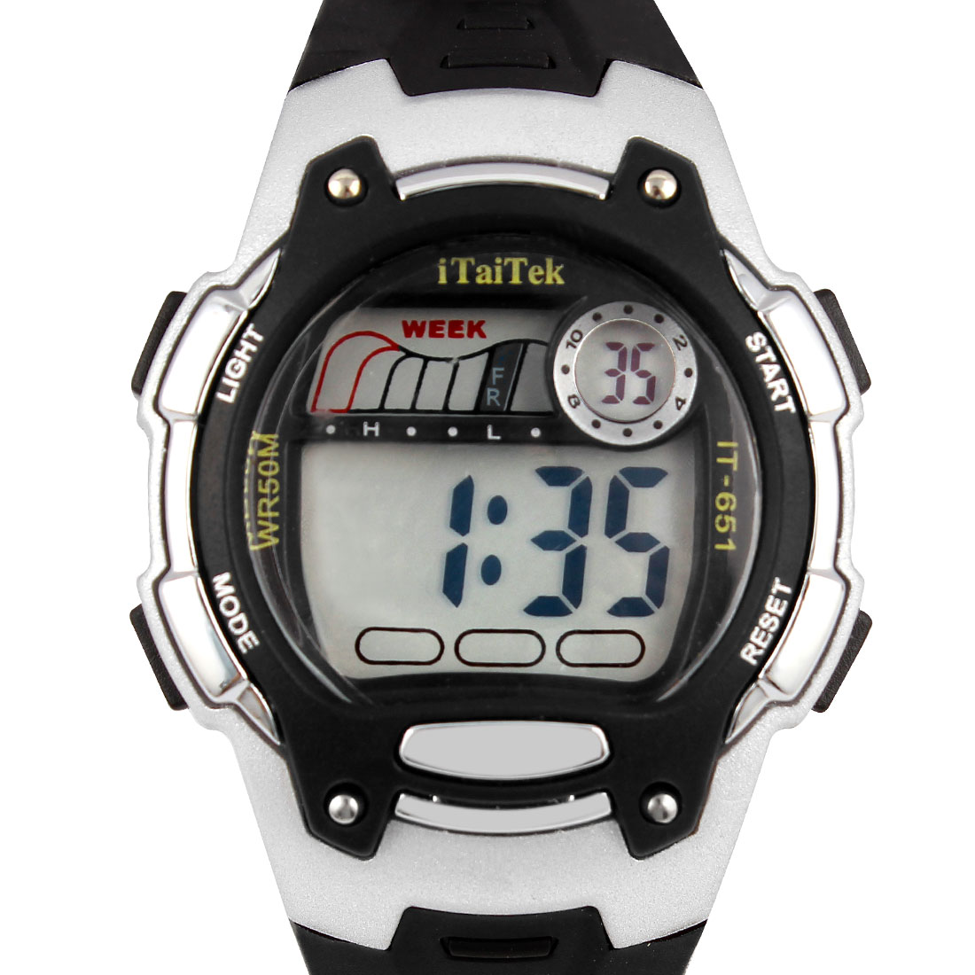 Black Silver Tone LCD Display Adjustable Wristband Digital Sports Watch w Case