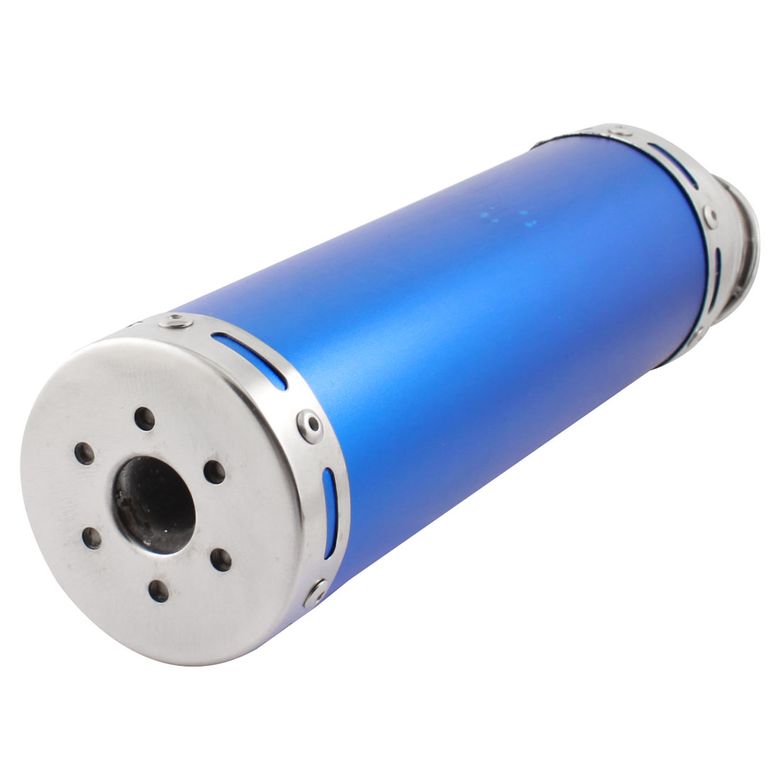 Motorcycle Blue Aluminum 38cm Length Slanted Cut Exhaust Muffler Tip