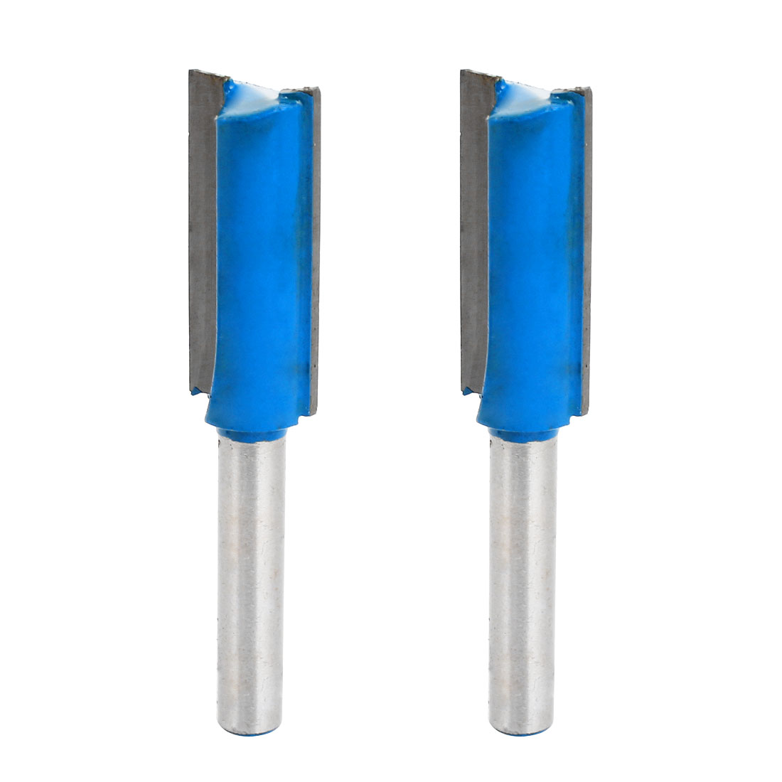 "2 Pcs 1/4"" x 1/2"" Dual Flutes Straight Router Bit Silver Tone Blue 65mm Length"