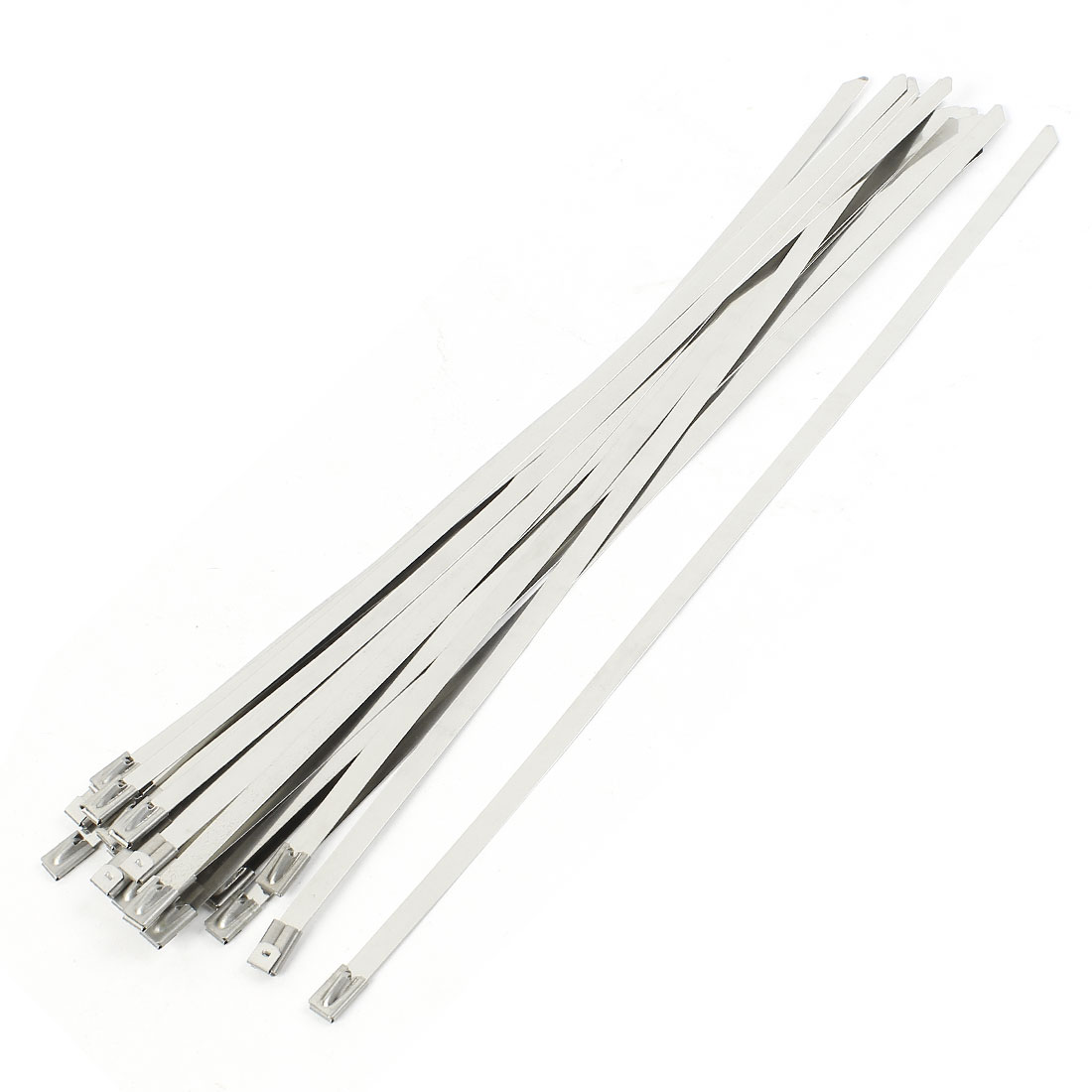 25Pcs Silver Tone Stainless Steel Coated Zip Tie 350x8mm for Pipe Hose Cable