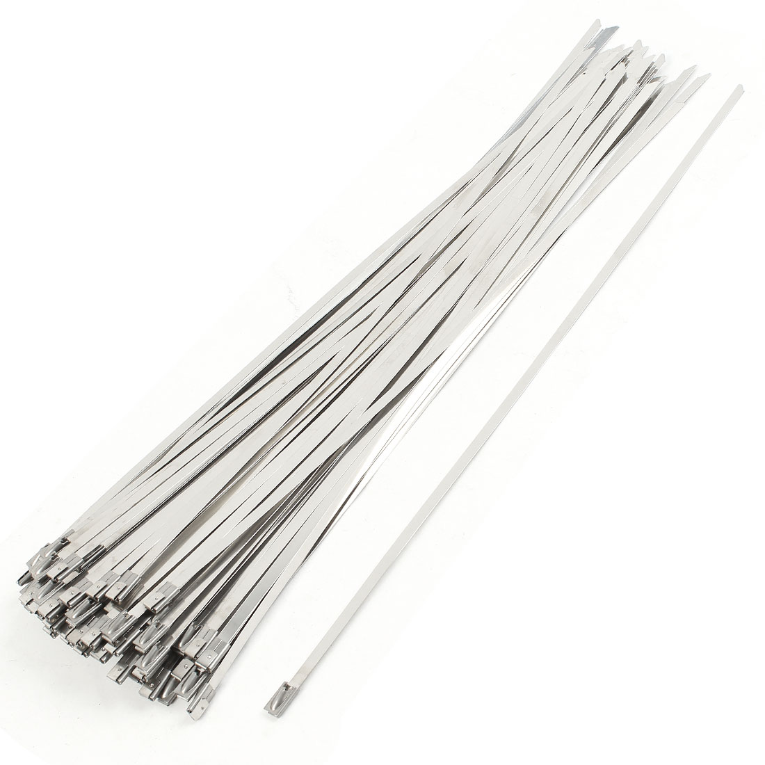 100Pcs Stainless Steel Coated Zip Cable Tie 300x4.6mm for Pipe Hose