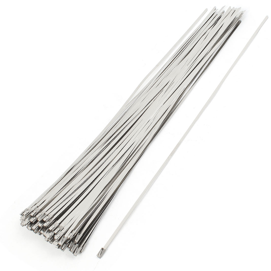 100Pcs Stainless Steel Coated Zip Cable Tie 400x4.6mm for Pipe Hose