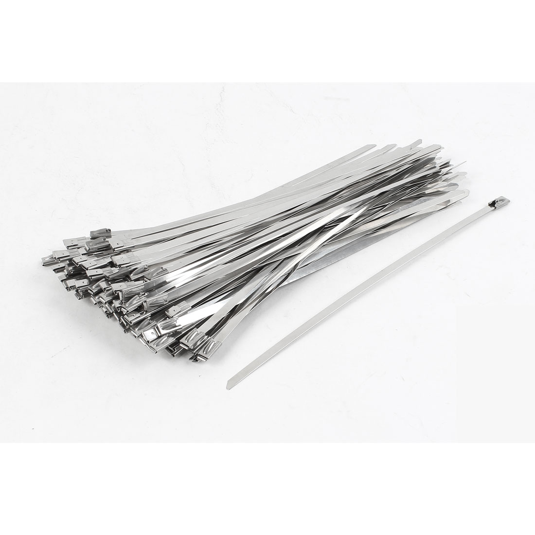 100Pcs Stainless Steel Coated Zip Cable Tie 200x4.6mm for Pipe Hose