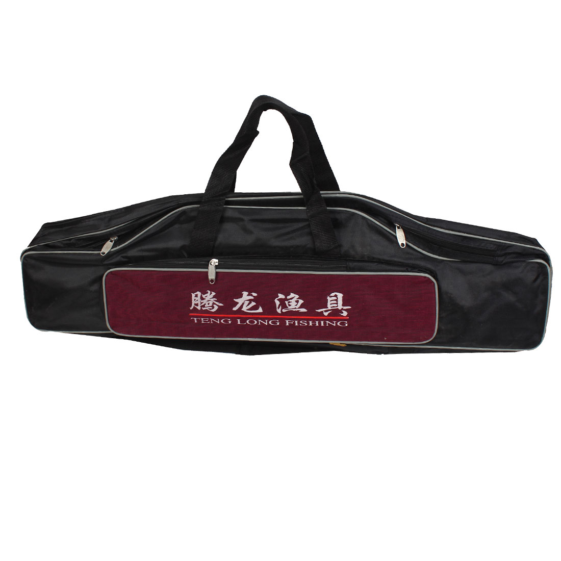 Zip Up 5 Compartment Nylon Angling Fishing Rod Pole Carrying Bag Black Burgundy 31""