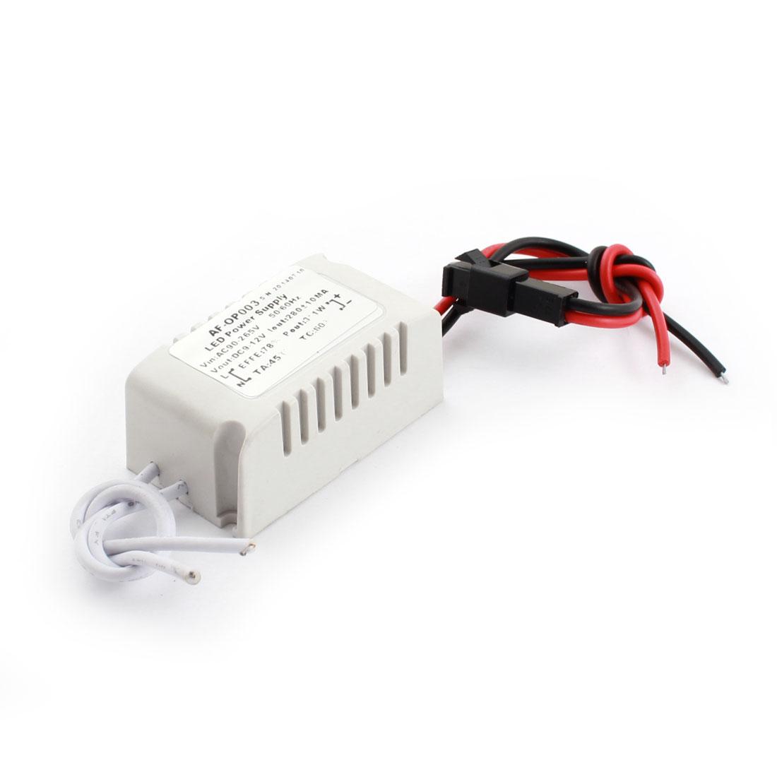 AC 90-265V to DC 9-12V Gray Plastic Shell Power Supply Driver for 3x1W LED Strip Light