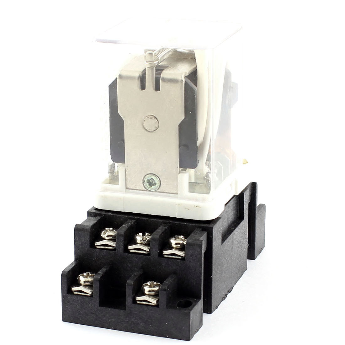 JQX-38F DC 24V 40A Coil Voltage 3PDT 3NO 3NC 11 Terminals 35mm DIN Rail Power Electromagnetic Relay w Socket