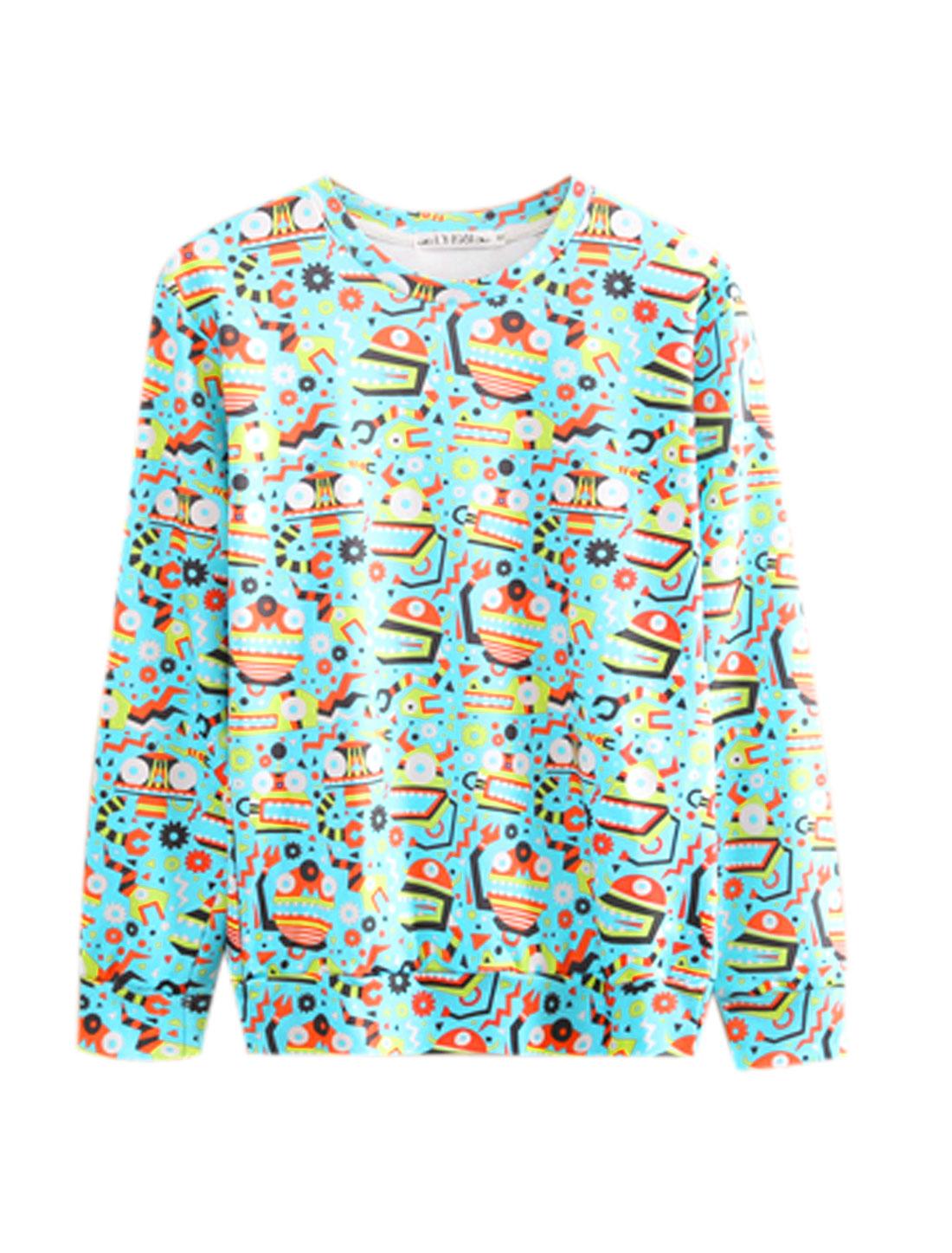 Men Sky Blue Pullover Cartoon Prints Long Sleeves Round Neck Sweatshirt M