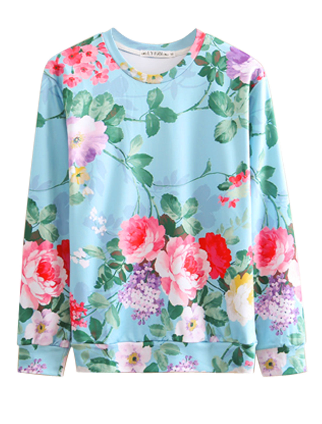 Men Blue Pink Pullover Plants Floral Prints Long Sleeves Leisure Sweatshirt M