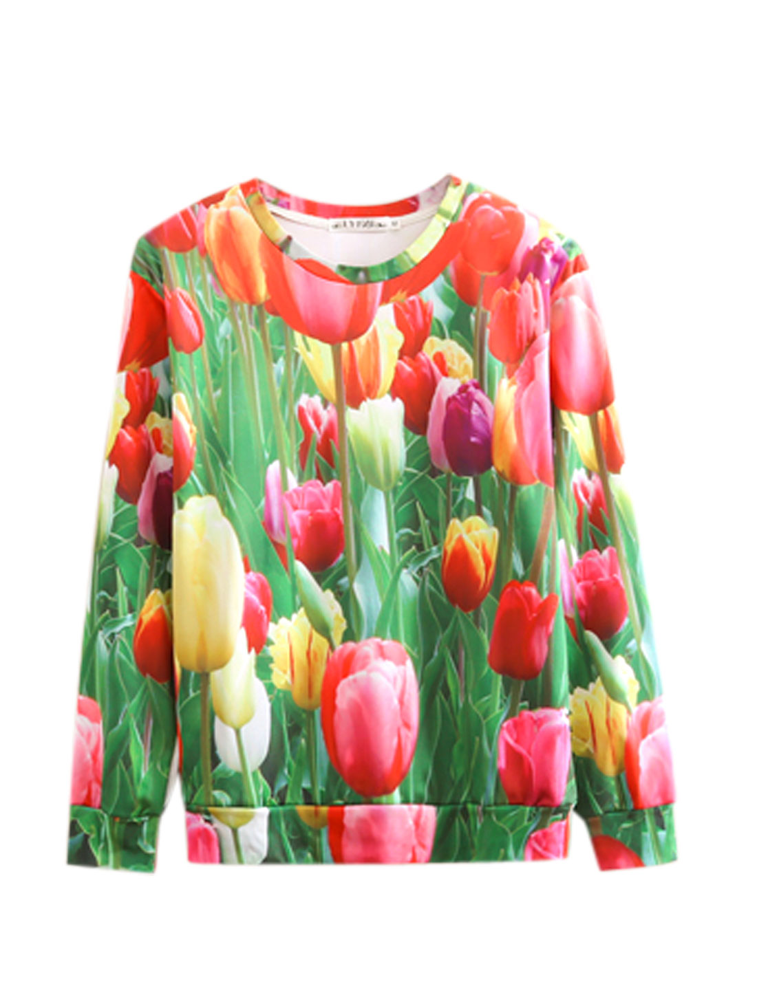 Men Multicolor Pullover Floral Prints Round Neck Leisure Sweatshirt M