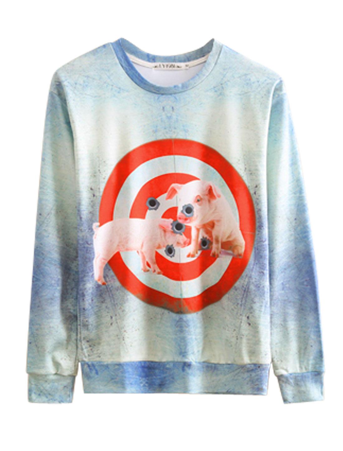 Men Light Blue Red Pullover Animal Circle Prints Prints Sweatshirt M