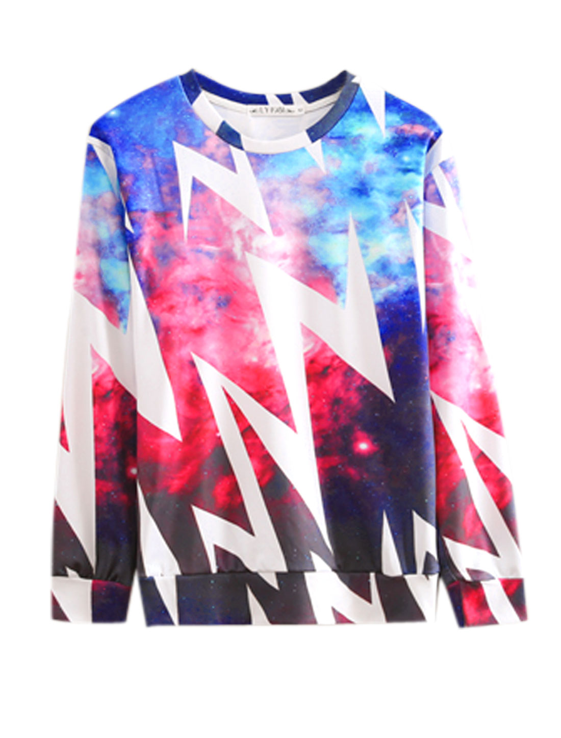 Men Blue Red Pullover Space Zigzag Prints Long Sleeves Leisure Sweatshirt M