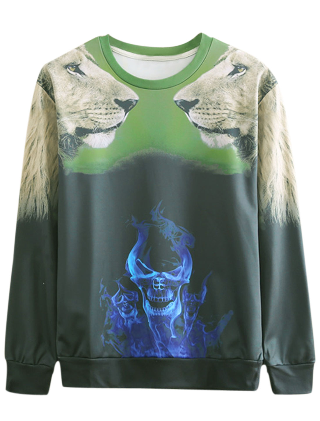 Men Long Sleeves Skull Lion Pattern Slipover Stylish Sweatshirt Dusty Green M
