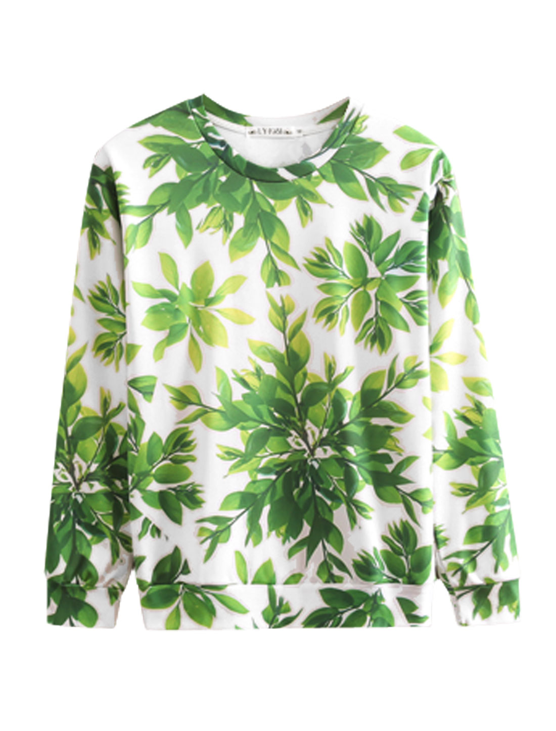 Men White Green Slipover Plants Prints Long Sleeves Round Neck Sweatshirt M