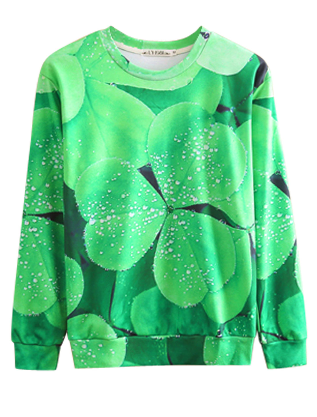 Men Green Pullover Shamrock Prints Long Sleeves Round Neck Sweatshirt M