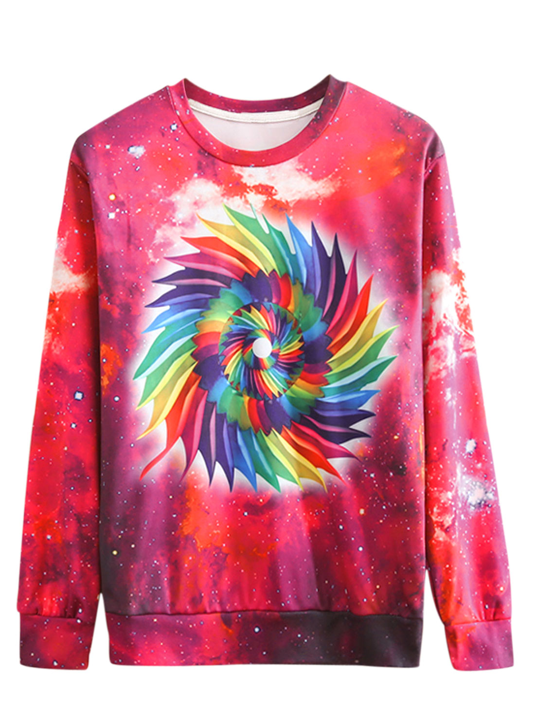 Men Round Neck Long Sleeves Galaxy Prints Trendy Sweatshirt Fuchsia Multicolor M