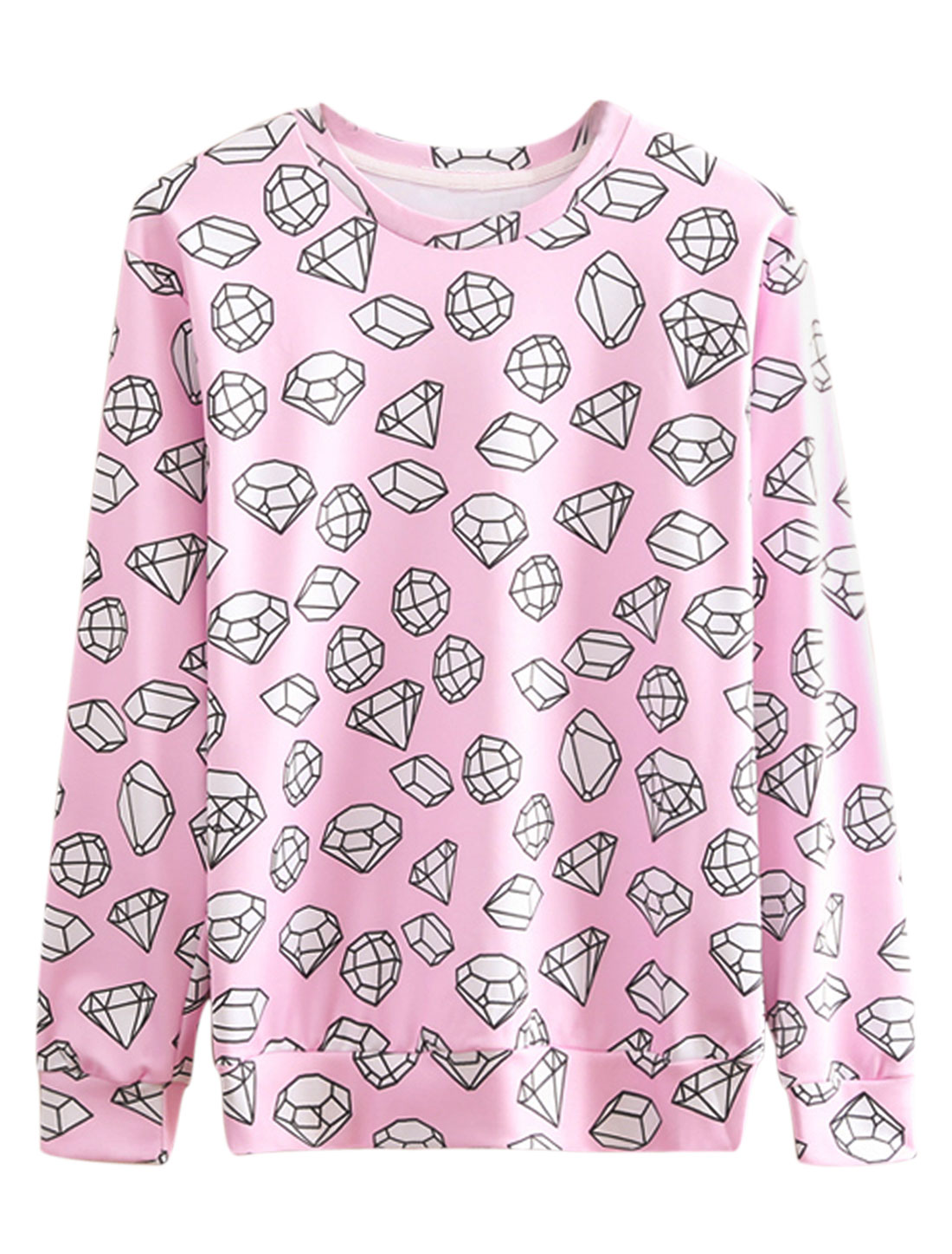 Men Round Neck Long Sleeves Diamond Prints Stylish Sweatshirt Pink M