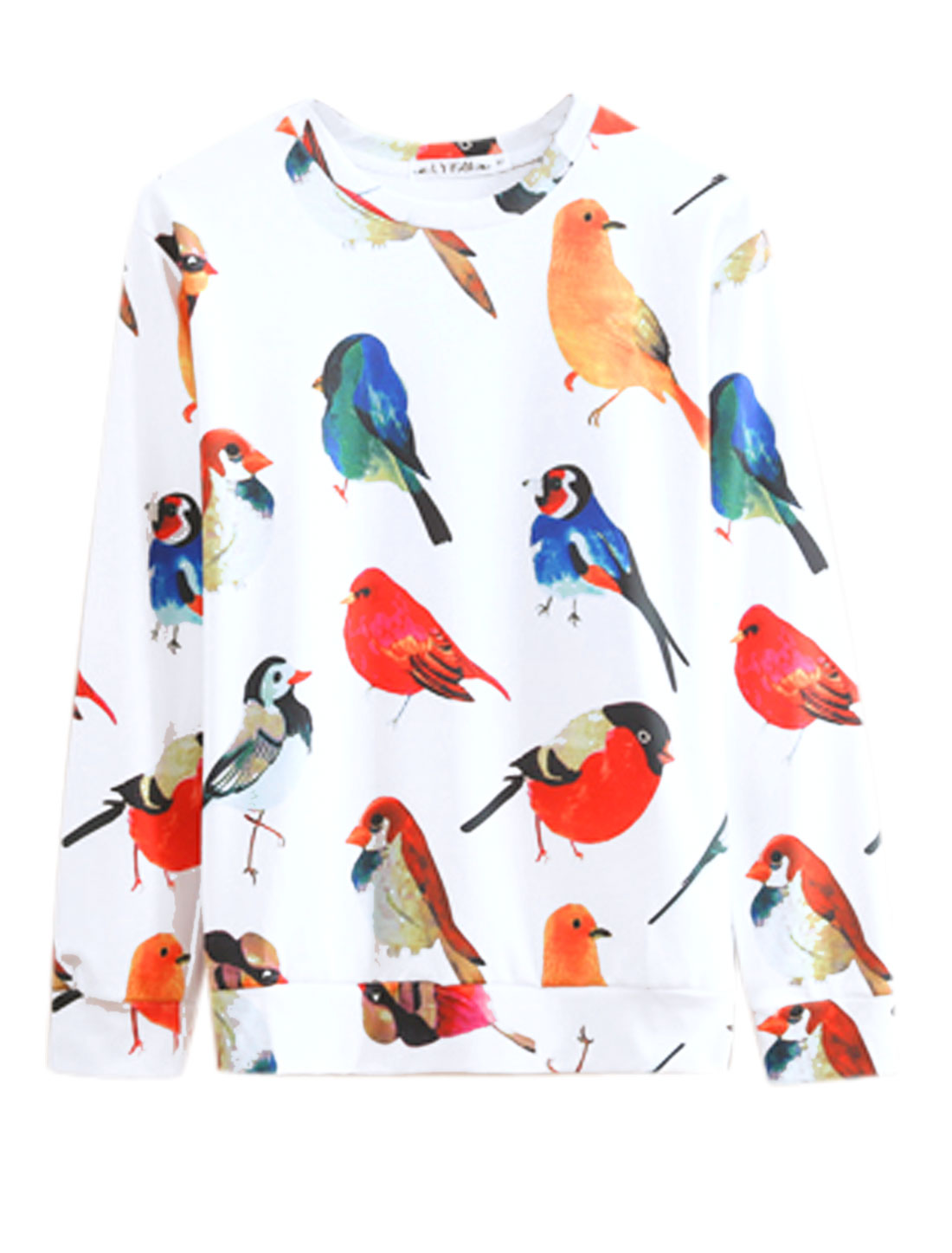 Men White Pullover Birds Prints Long Sleeves Round Neck Leisure Sweatshirt M