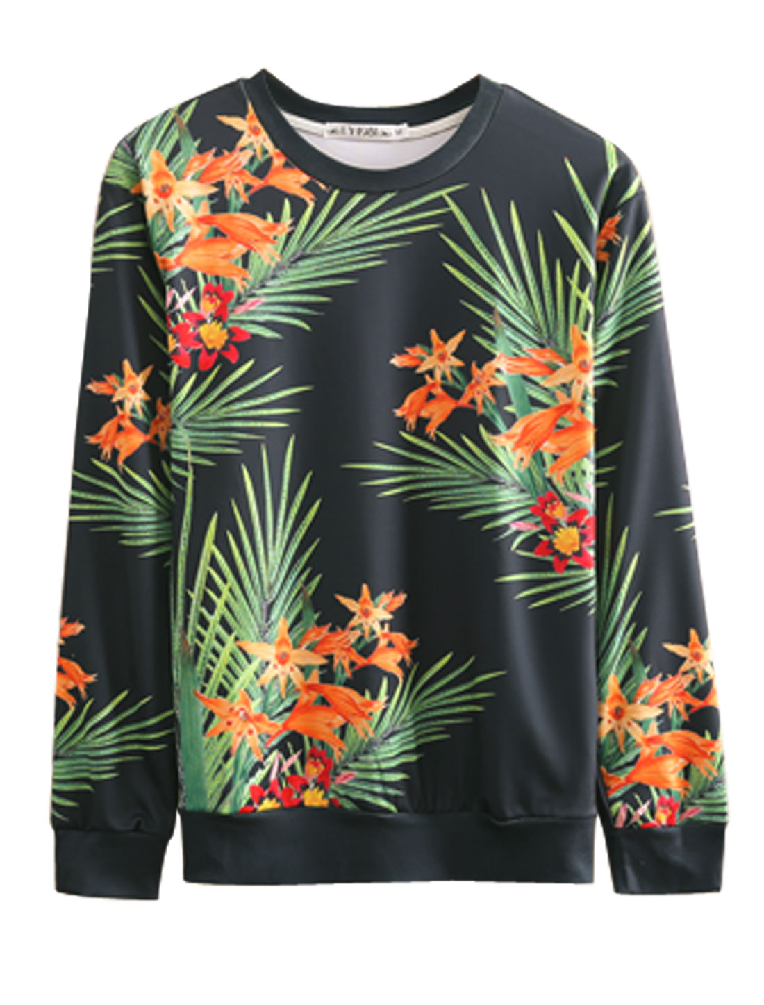 Men Black Green Floral Prints Long Sleeves Round Neck Sweatshirt M