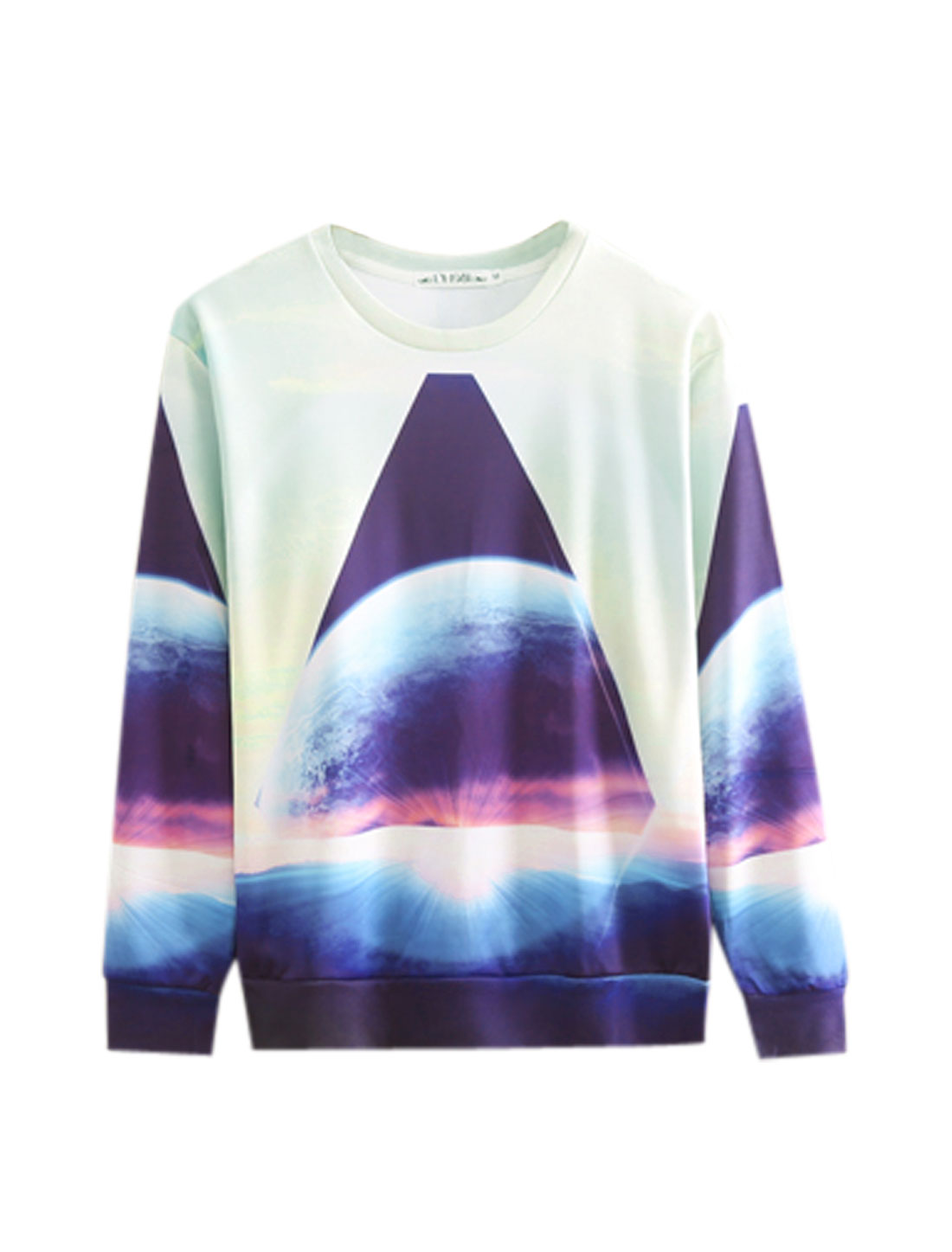 Men Lght Mint Purple Pullover Geometric Earth Prints Contrast Color Sweatshirt M