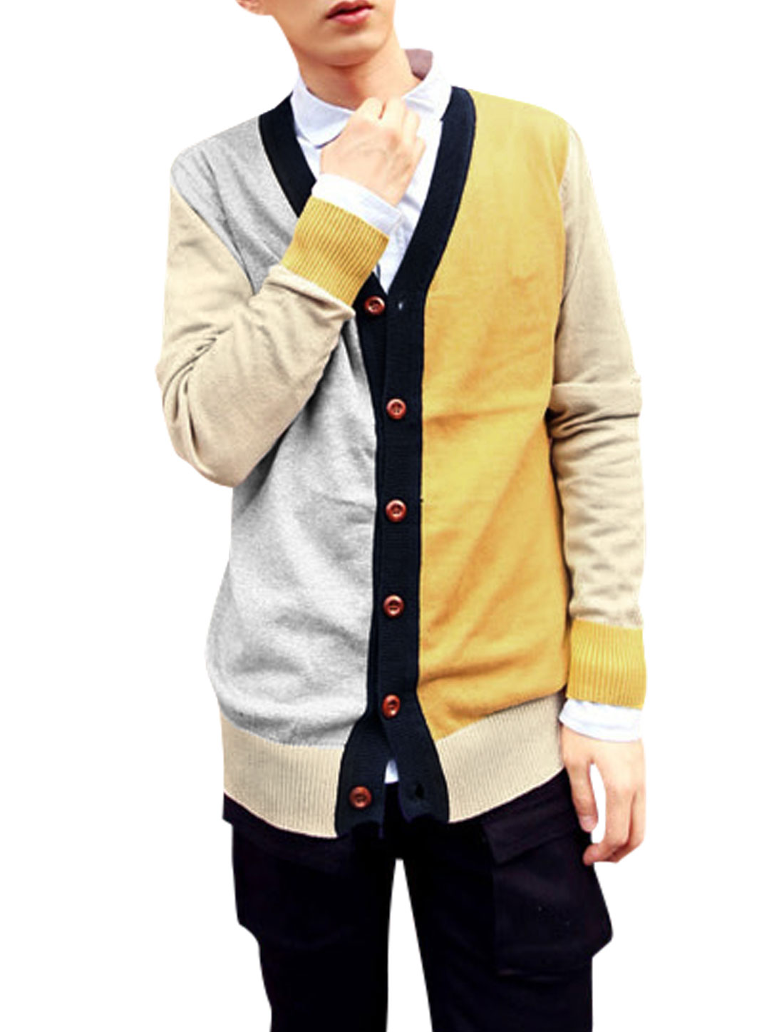 Men V Neck Contrast Color Button Closed Knit Cardigan Yellow Gray M