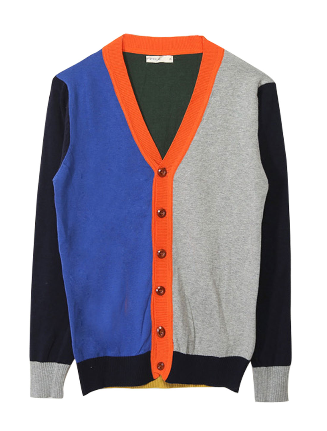 Man Long Sleeves Color Block Button Front Blue Gray Knit Cardigan M