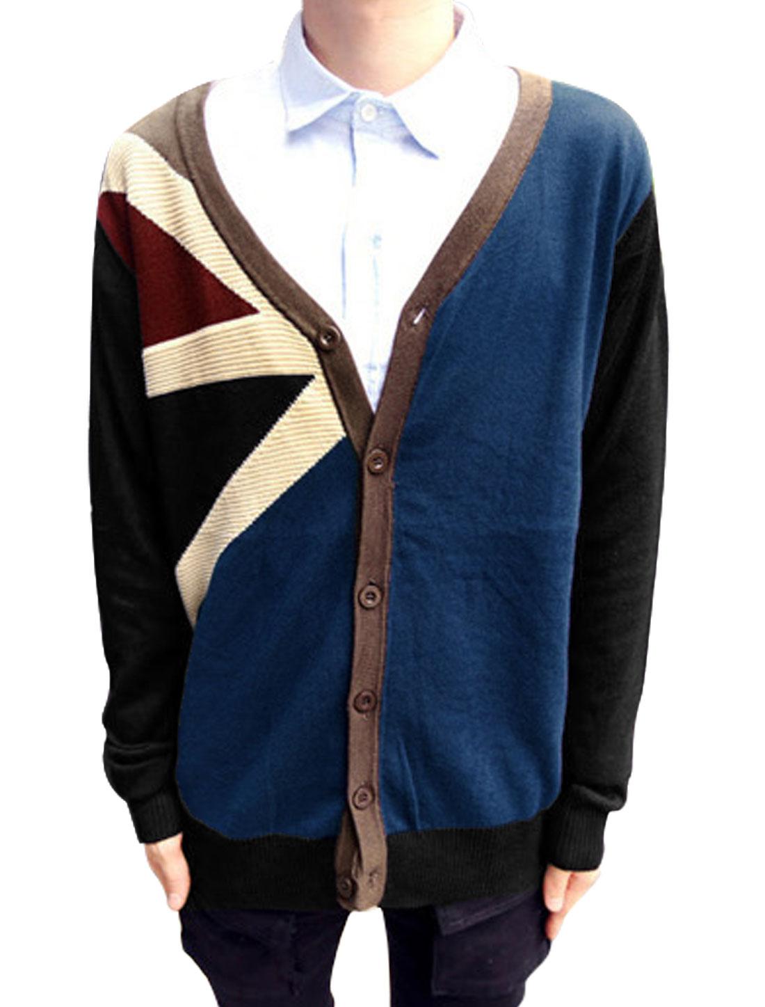 Men V Neck British Flag Pattern Color Block Knit Cardigan Navy Blue Black M