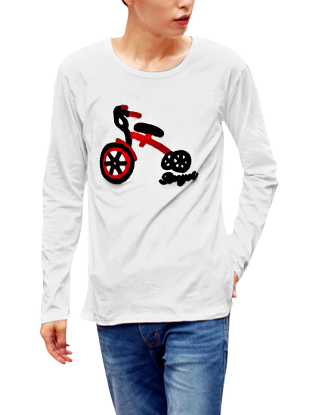 Men Bicycle Embroidery Long Sleeves Casual Shirt White M