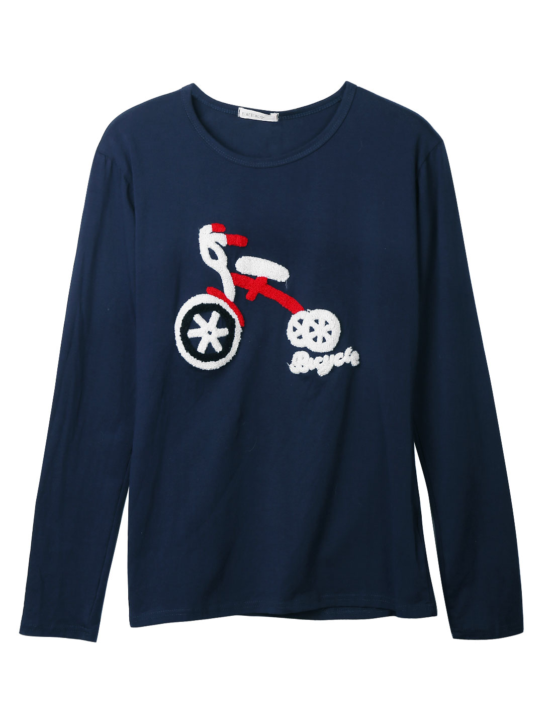 Round Neck Bicycle Embroidery Navy Bkue Casual Shirt for Man M