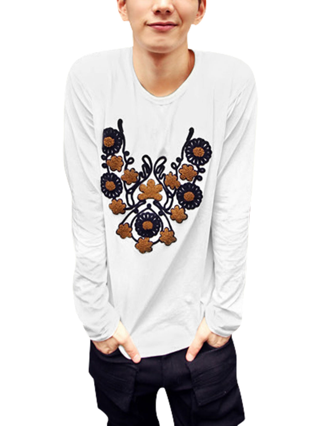Men Floral Embroidery Long Sleeves Casual Basic Tee White M