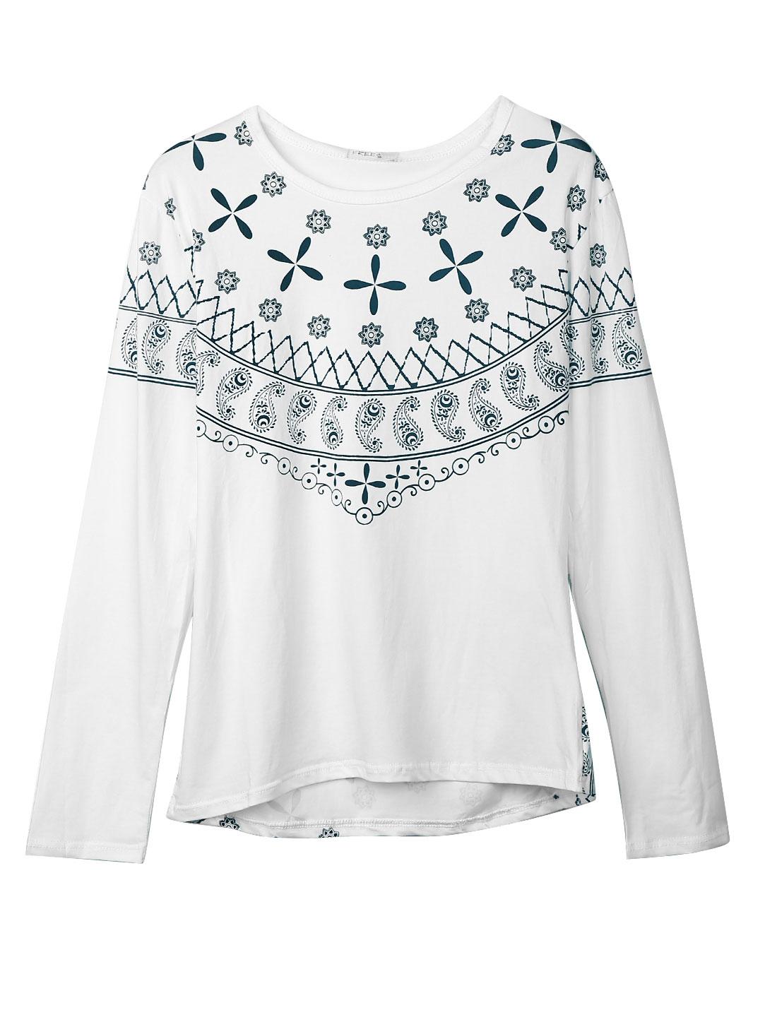 Men Paisleys Floral Prints Long Sleeve Casual Shirt White M
