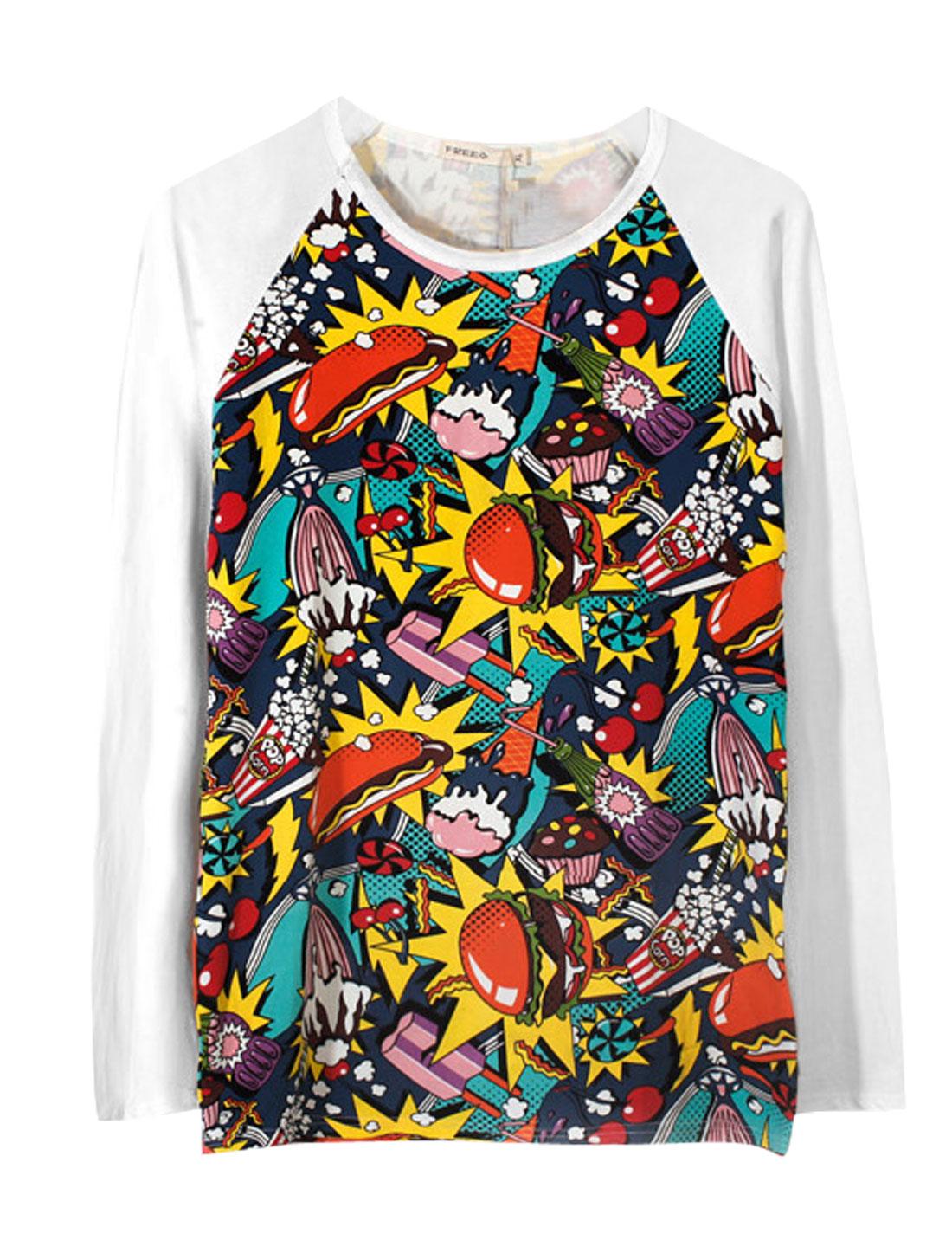 Men Multicolor Graffiti Prints Pullover Raglan Sleeves Round Neck T-Shirt M