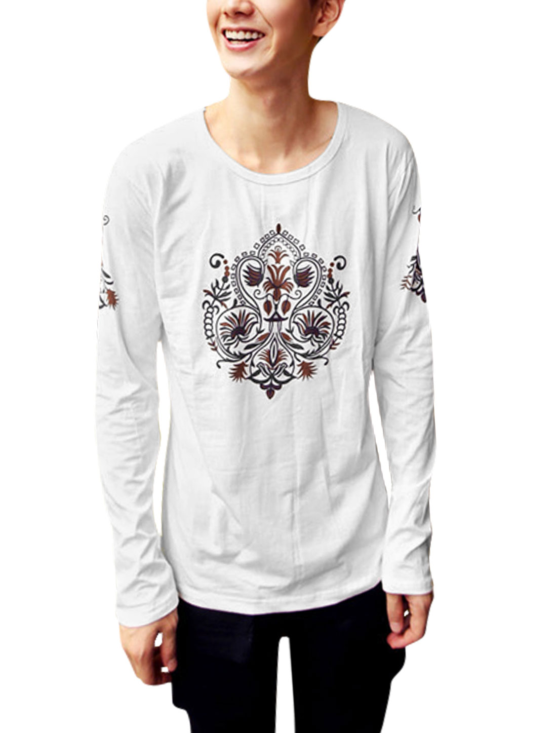 Men White Pullover Jacquard Pattern Long Sleeves Leisure T-Shirt M