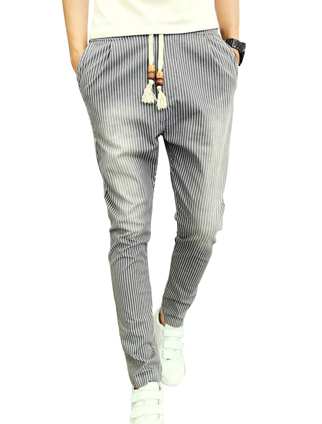 Man Vertical Stripes Button Closure Light Gray Casual Pants W30