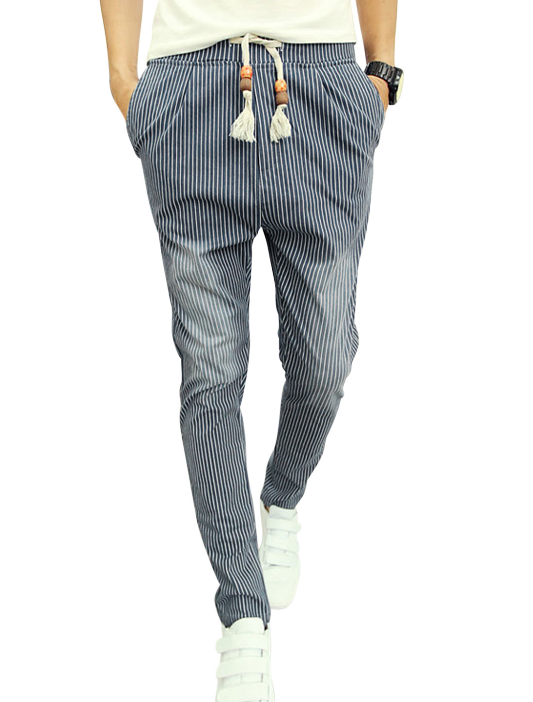 Man Vertical Stripes Zip Up Slim Fit Blue Casual Pants W30