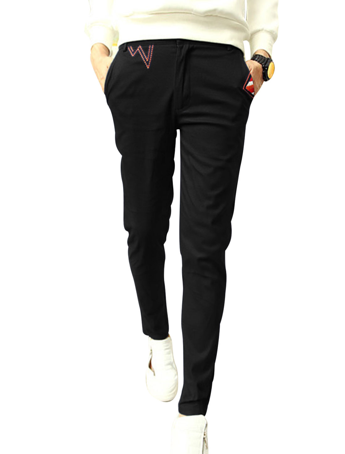 Men Zip Up Button Closed Embroidery Detail Casual Pants Black W30