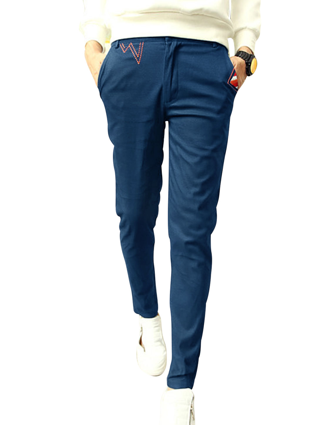 Slim Fit Button Closure Zip Fly Dark Blue Casual Pants for Man W30