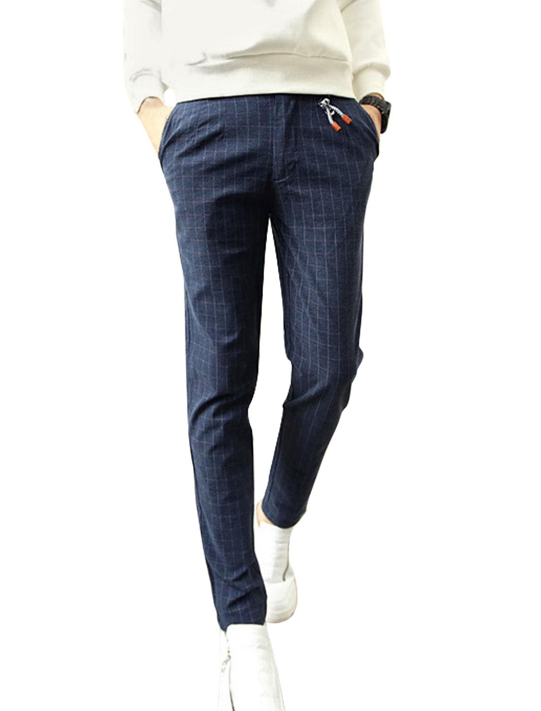 Men Dusty Purple Plaids Mid Waist Belt Loop Button Closure Zip Fly Straight Pants W30